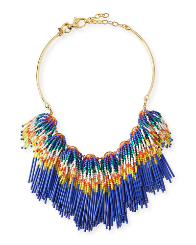 Striped Fringe Collar Necklace