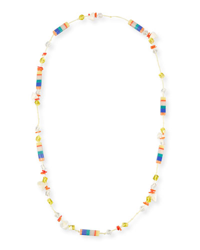 Plankton Striped Howlite Station Necklace, 40
