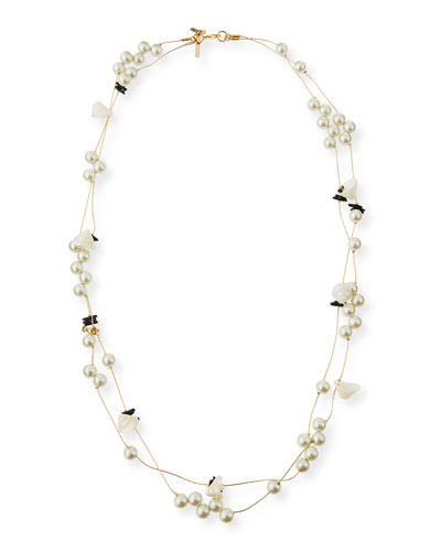 Pearly Striped Shell Knotted Necklace, 34