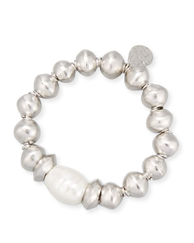 Rhodium-Plated Bracelet with Shell Pearl Station