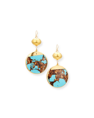 Bronzite Turquoise Round Drop Earrings