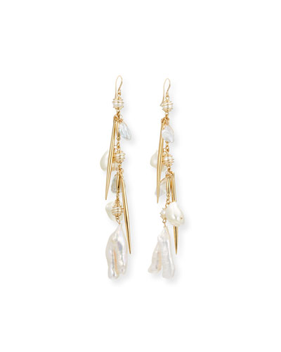 Pearl Cluster Dangle Drop Earrings