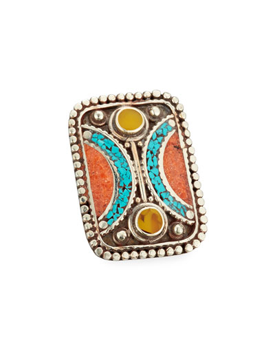 Turquoise, Coral & Jade Rectangle Ring