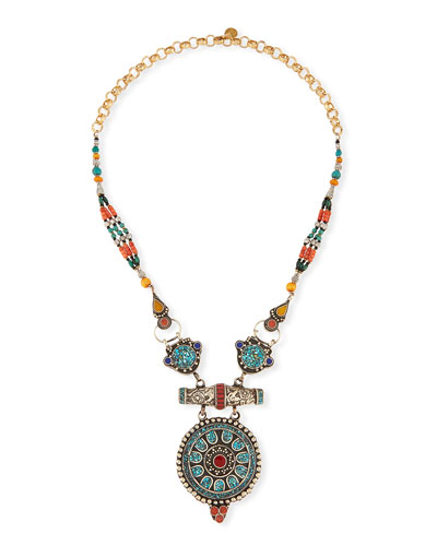 Antiqued Turquoise, Coral & Lapis Pendant Necklace