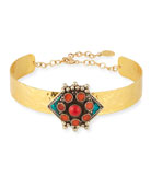 Choker Necklace with Turquoise & Coral Flower Medallion