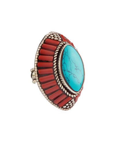 Coral & Turquoise Marquis Ring