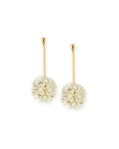 Plumeria Crystal Drop Earrings, White