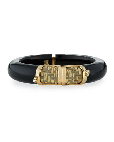 Woven Raffia & Lucite Hinge Bangle, Black