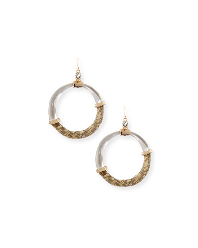 Raffia/Lucite Hoop Earrings