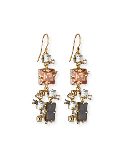 Prong-Set Square Crystal Dangle Earrings