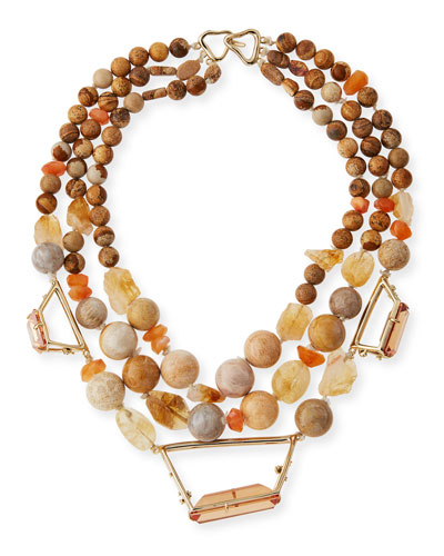 Beaded Citrine, Jasper & Agate Necklace
