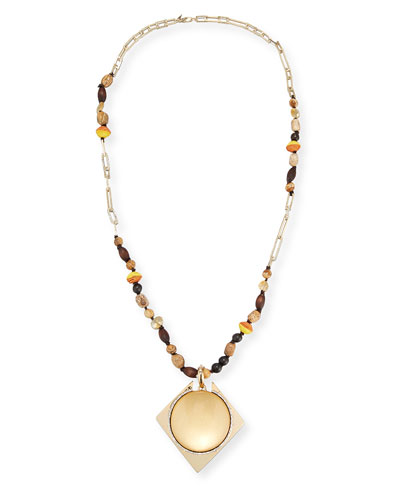 Beaded Lucite Pendant Statement Necklace, 38