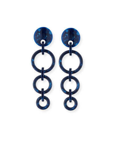Marbled Wind Chime Earrings, Ocean Blue