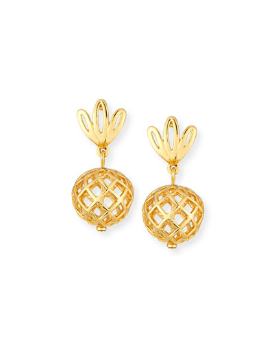 Pineapple Golden Drop Earrings