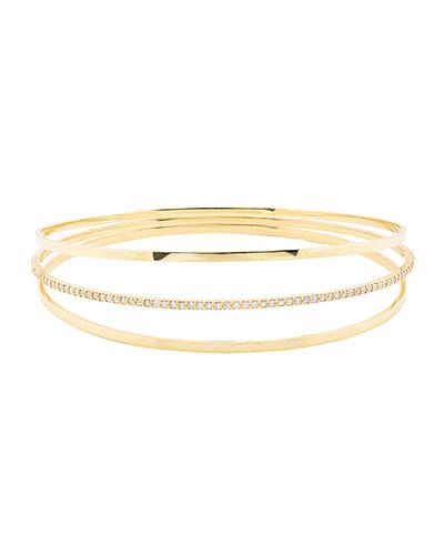 Flawless Vol 6 14K Gold Triple Link Bangle Bracelet