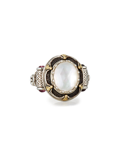 Faceted Mother-of-Pearl Ring with Pink Sapphire, Size 7