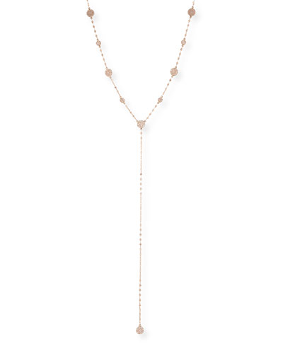 Flawless Y-Drop Necklace with Diamond Discs in 14K Rose Gold