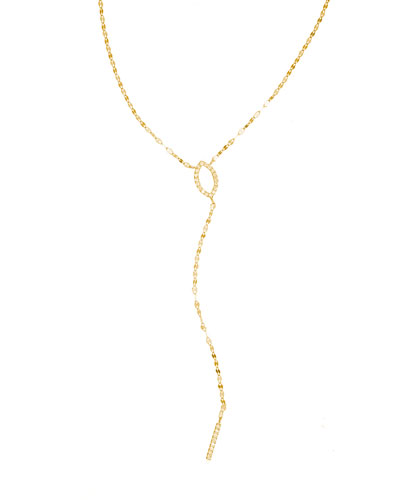 Flawless 14K Marquis Mini Diamond Lariat Necklace