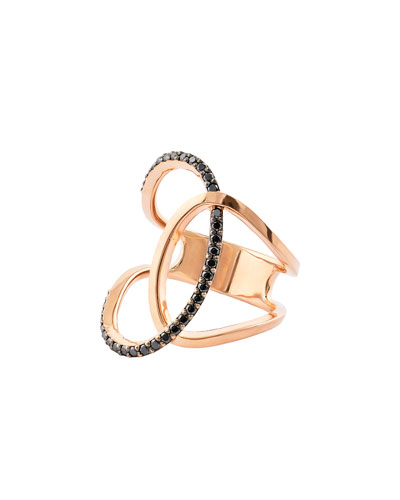 Reckless Vol. 2 14K Rose Gold Illuminating Ring with Black Diamonds, Size ...