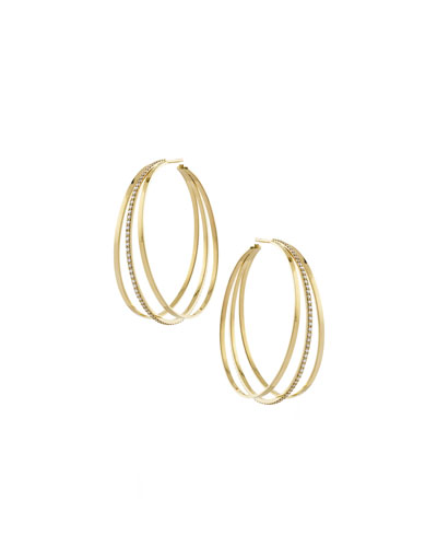 Triple Link Hoop Earrings with Diamonds in 14K Gold