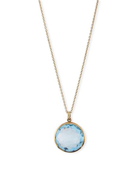 Ippolita 18k Gold Rock Candy Lollipop Pendant Necklace, Lt Blue Topaz