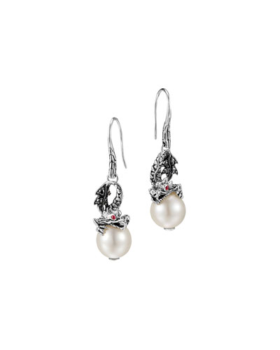 Naga Silver Dragon Drop Earrings with Pearl & Black Sapphire