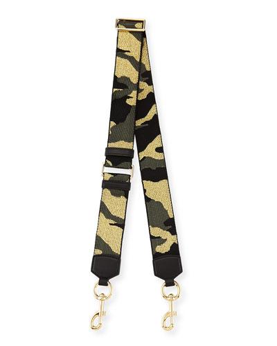 Webbed Camo-Print Shoulder Strap, Black Multicolor