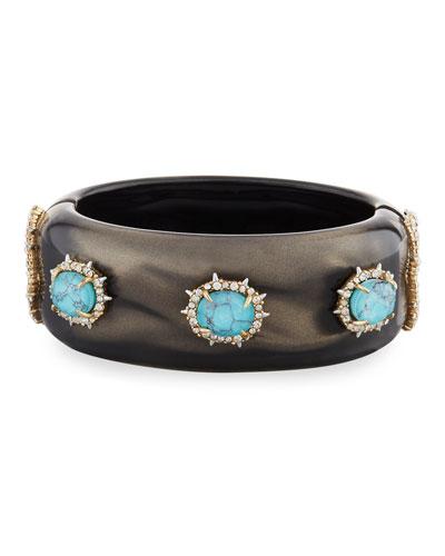 Satin Liquid Hinge Bracelet, Dark Gray/Turquoise