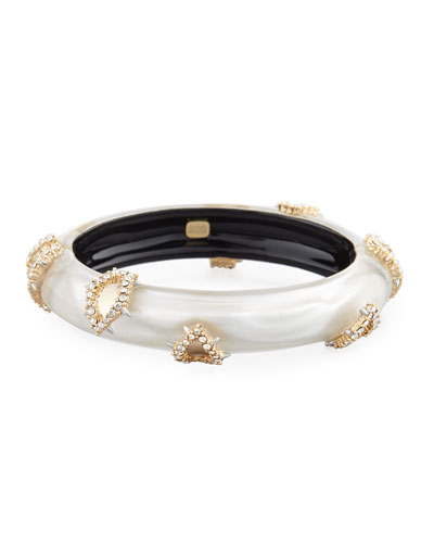 Crystal Satin Liquid Hinge Bracelet, Silver