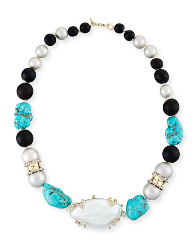 Liquid Silk Station Necklace, Silver/Turquoise