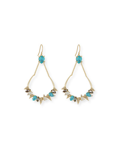Pavé Crystal Chain Top Earrings, Golden/Turquoise
