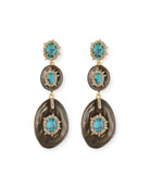 Liquid Crystal Three-Drop Earrings, Gray/Turquoise