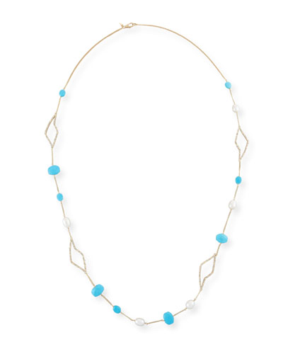 Crystal Petal Station Necklace, Golden/Turquoise