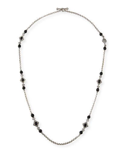 Carved Sterling Silver & Black Onyx Station Necklace, 36