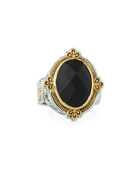 Konstantino Faceted Black Onyx Oval Ring