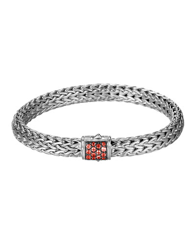 Classic Chain 7.5mm Medium Braided Silver Bracelet, Red Sapphire
