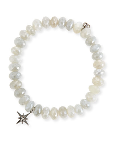 8mm Mystic Gray Moonstone Beaded Bracelet with Diamond Starburst Charm