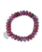 12mm Beaded Ruby Rondelle Bracelet with Diamond Lips Charm