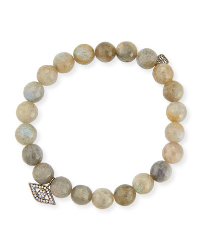 Anniversary Beaded Labradorite Bracelet with Diamond Evil Eye Charm