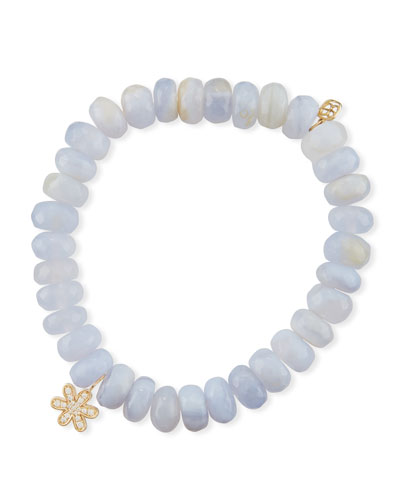 Anniversary 8mm Blue Chalcedony Bracelet with Diamond Daisy Charm