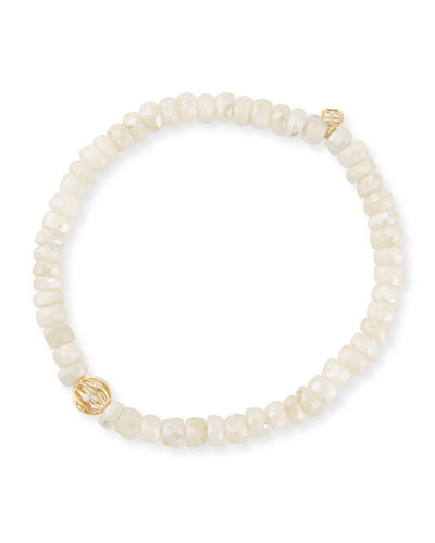 5mm White Sapphire Beaded Bracelet with Diamond Bezel Ball