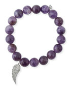 10mm Amethyst Beaded Bracelet with Diamond Wing Charm
