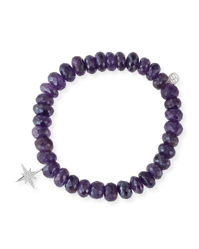 8mm Beaded Amethyst Bracelet with Diamond Starburst Charm