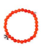 6mm Beaded Bright Orange Agate Bracelet with Diamond Eyelash Charm