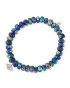 8mm Faceted Lapis Rondelle Bracelet with Diamond Eye Charm