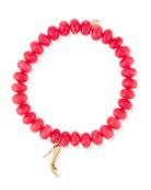 8mm Hot Pink Chalcedony Beaded Bracelet with Diamond Stiletto Charm