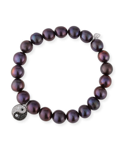 9mm Black Peacock Pearl Beaded Bracelet with Diamond Yin Yang Charm