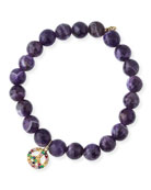 8mm Amethyst Beaded Bracelet with Rainbow Sapphire Peace Charm