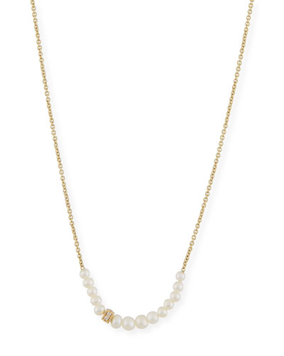 Pearl Necklace with Diamond Rondelle