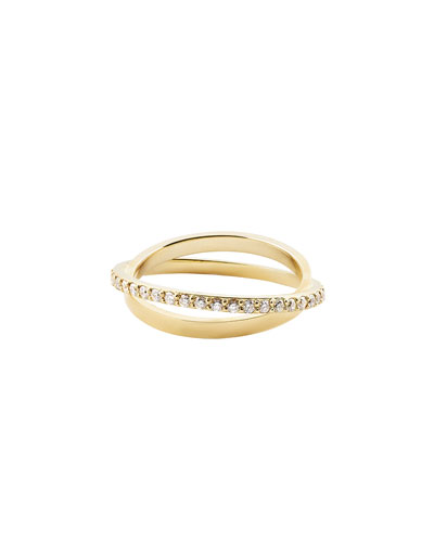 Diamond Twist Ring in 14K Yellow Gold, Size 7